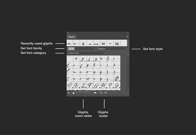 glyphs panel buttons