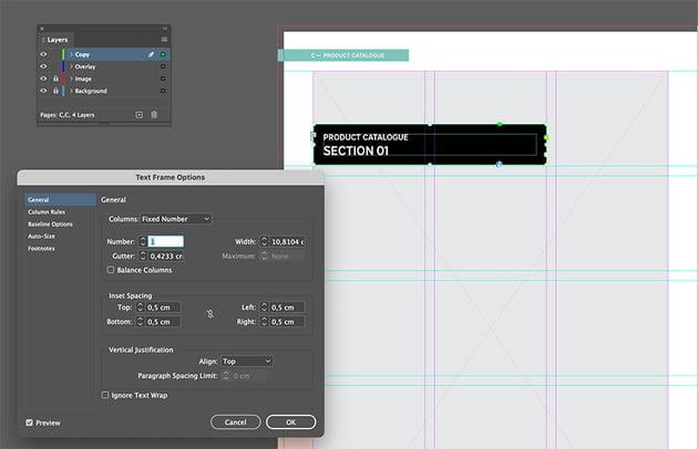 Create a text frame