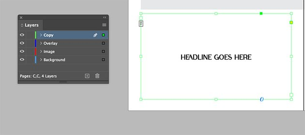 Add a text frame to the left hand side page