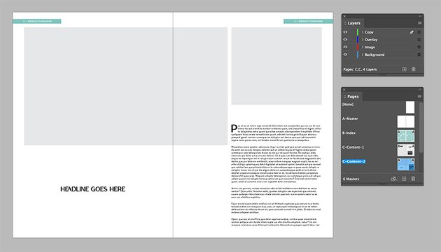 Add a text frame to the right hand side page