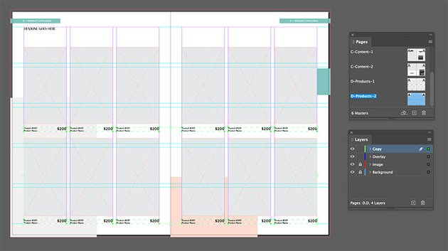 Add text frames to the spread