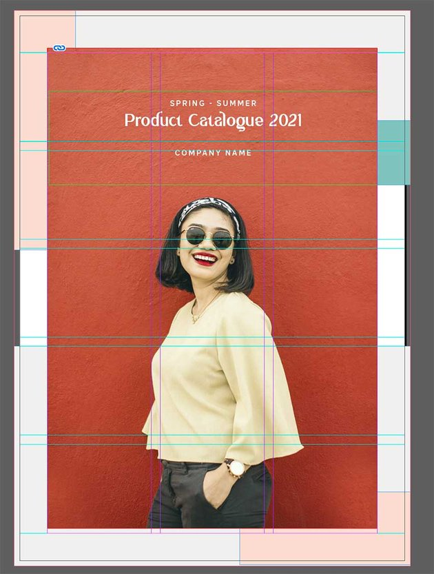 Create a front cover for the product catalogue template