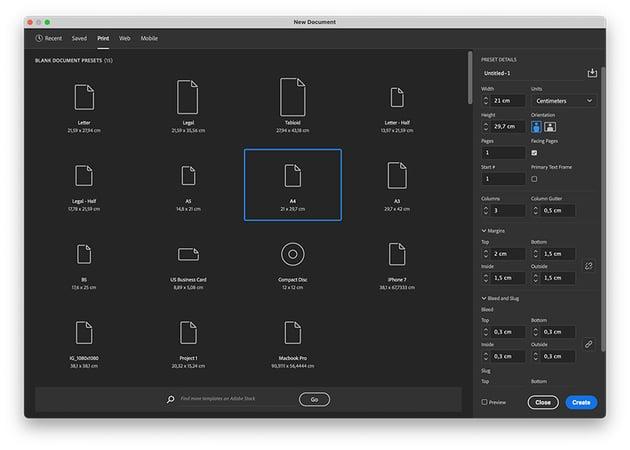 Create a new file in Adobe InDesign