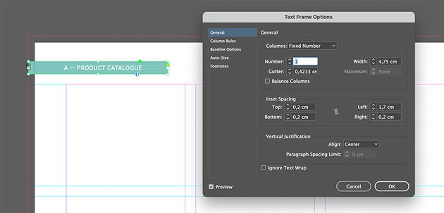 Add inset spacing to the text frame