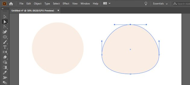 Make a face shape from a 60x60 px light-beige circle