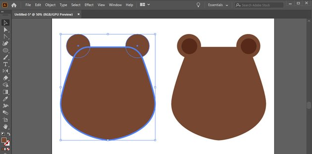 Add two circle ears to the top of the head