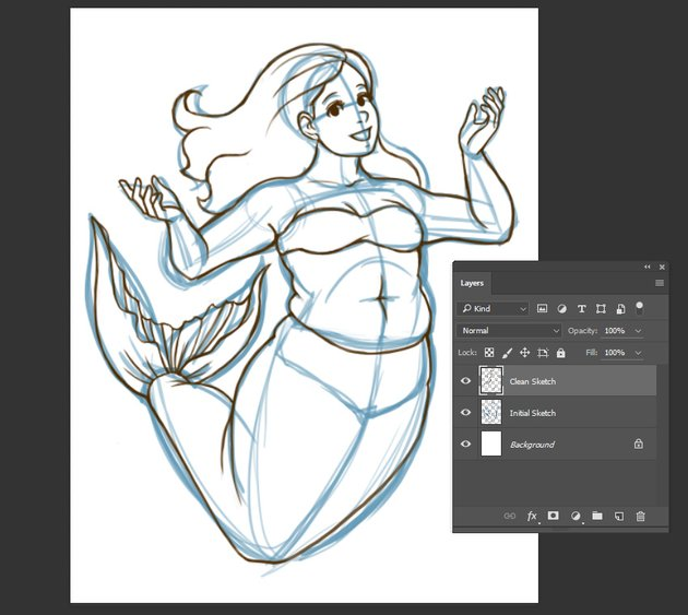 Example image of further refined sketch utilizing layers