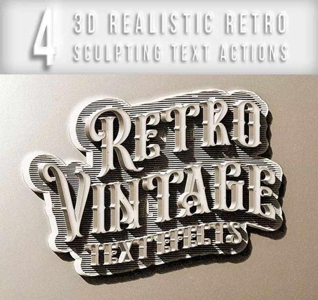 3D Retro Sculpting Text Actions