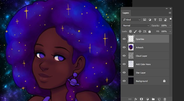 Initial creation of hair sparkles