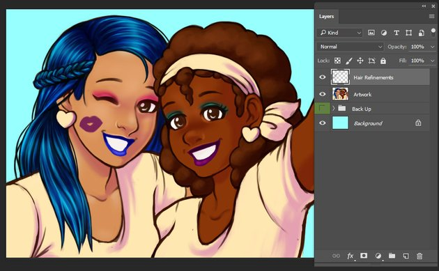 Details added to the hair areas