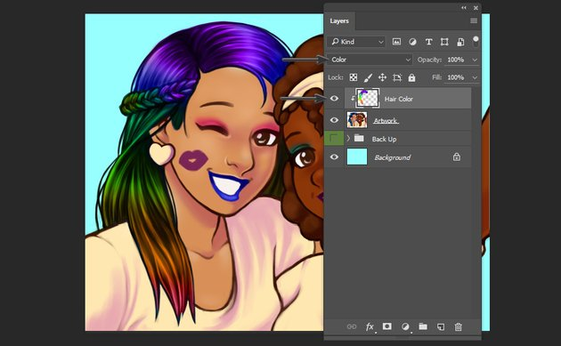 Adding rainbow colors to the hair