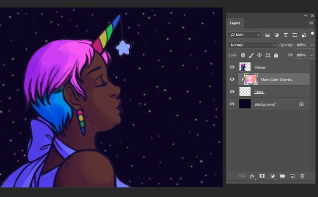 Adding Blur and extra color to the stars