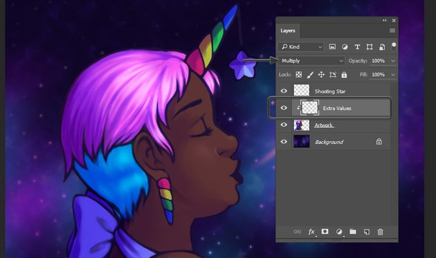Adding values to the unicorn horns and star areas