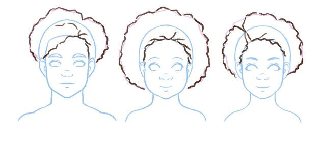 Detail added to 4B hair illustrations