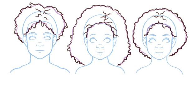 Detail added to 4A hair illustrations