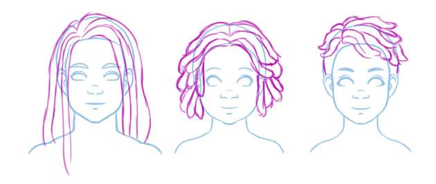 Basic contours illustrating different twist styles