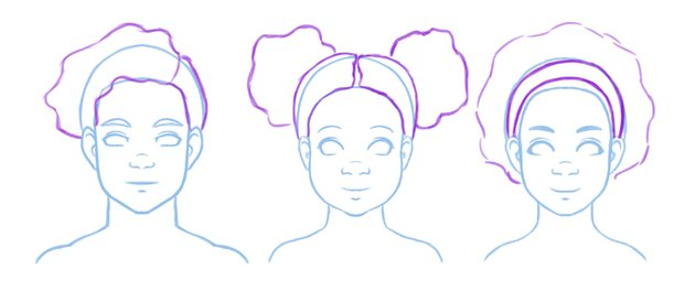 Initial contours of afro drawings