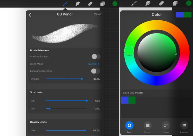 6B Pencil Settings and the Color Wheel