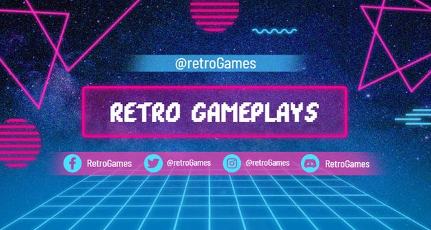 Retrowave Twitch Banner Template with Neon Shapes