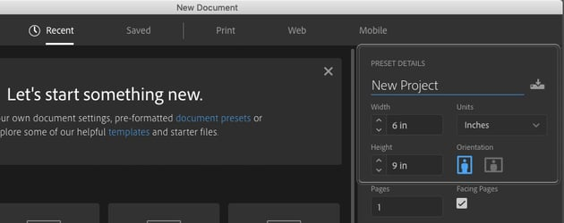 Example of New Document Settings