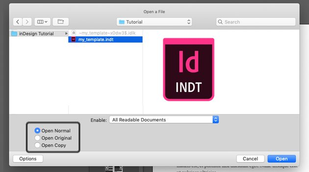 Example of Opening an inDesign Template