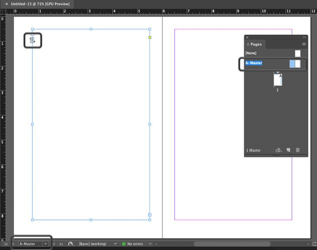 Example of Work Space when editing Master Page