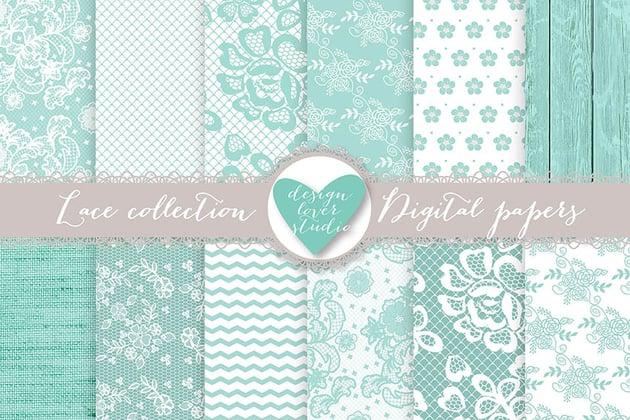 Mint Digital Scrapbook Paper