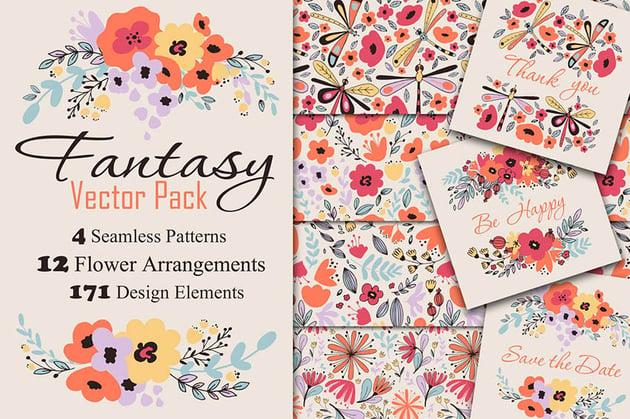 Fantasy Flowers Vector Pack