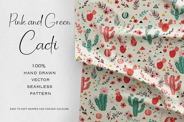 Pink and Green Cacti Seamless Pattern