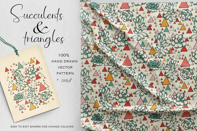 Succulents and Triangles Vector Pattern