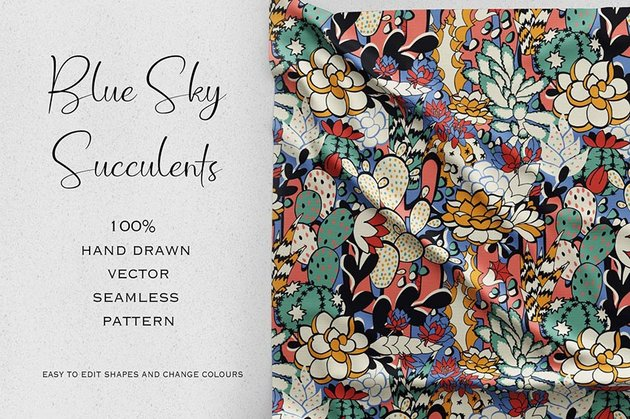 Blue Sky Succulents Seamless Pattern
