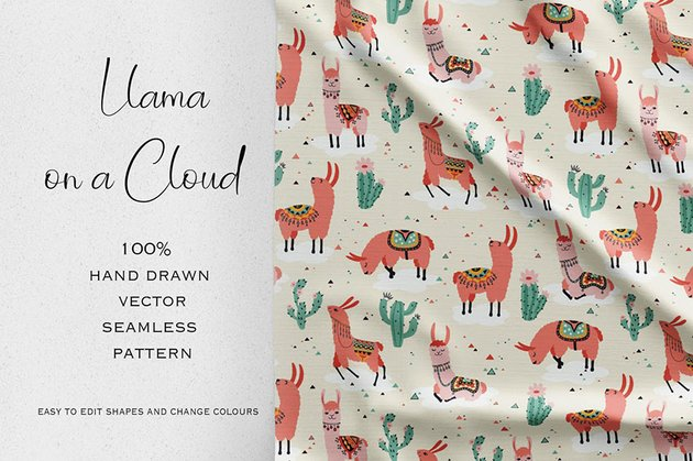 Llama on a Cloud Seamless Pattern