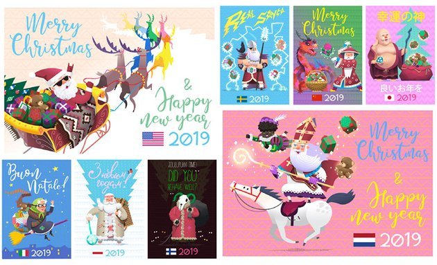 Winter Holiday Characters by moonery
