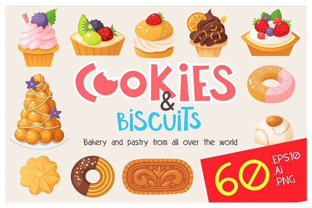 Cookies Cakes and Biscuits Illustrations by moonery