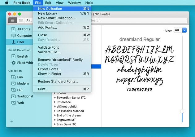 Font Book Collecftions