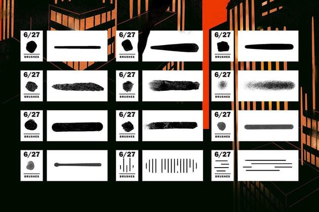 Sample of Comics  Halftone Procreate Brushes by LeoSupply