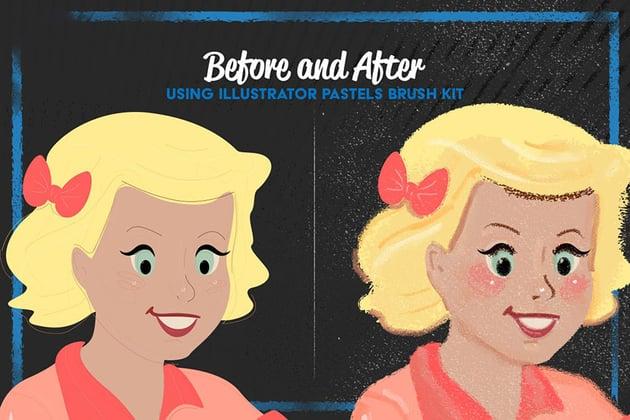 Pastels Illustrator Brush-Kit by LeoSupply
