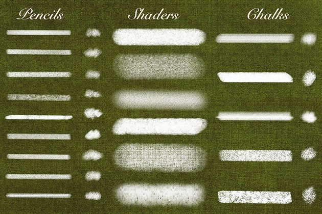 Examples of Natural Brushes for Procreate Brush Set by guerillacraft