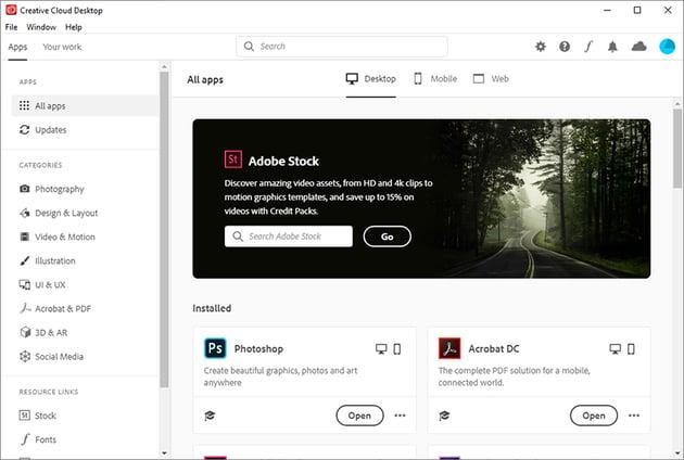 Opening Creative Cloud