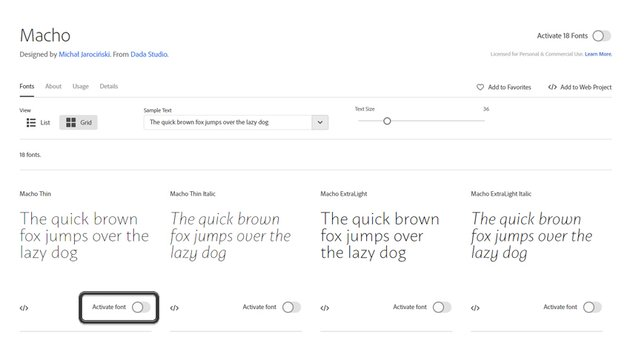 Activating an Adobe Font
