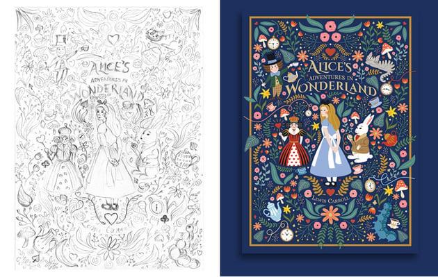 Process and final Alice in Wonderland poster by Vesna Skornek