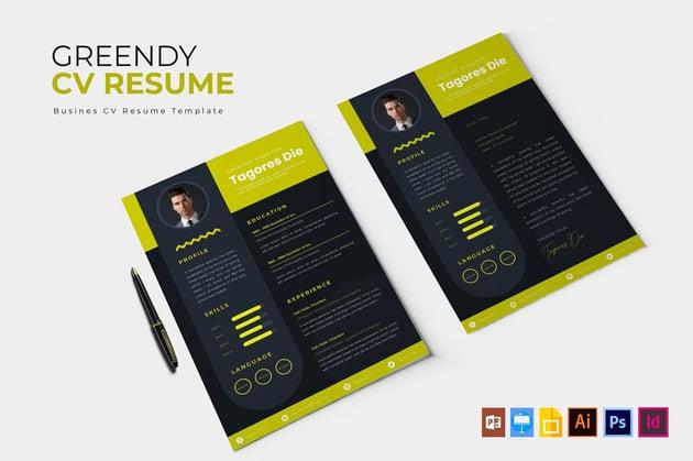 Greendy  InDesign CV  Resume Template