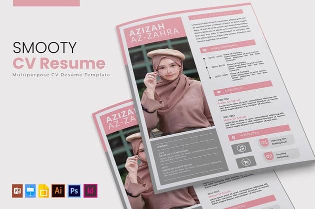 Pink InDesign Resume CV Template