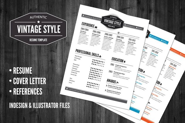 3 Piece Vintage Style Resume Pack