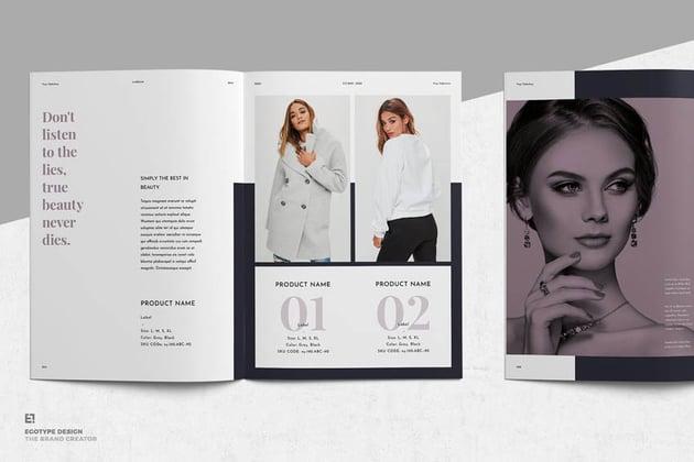 Professionally designed lookbook template