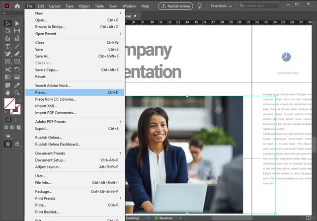 Insert Image Adobe InDesign
