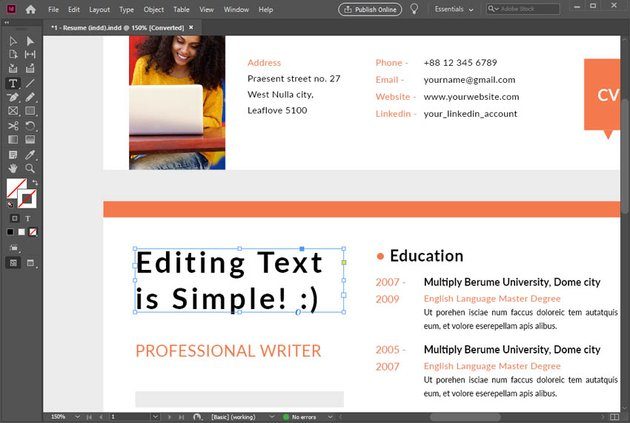 Edit Text in InDesign