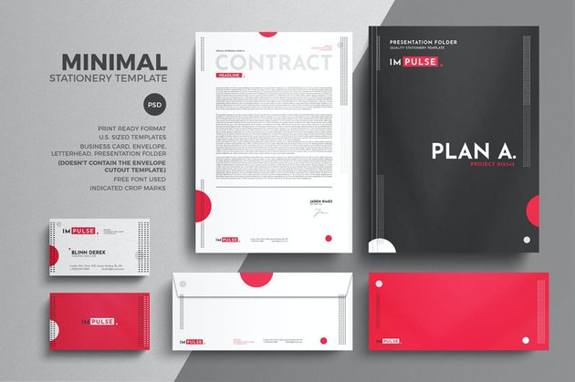 professional business stationery set design template