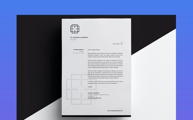 Black and White Geometric Letterhead Stationery