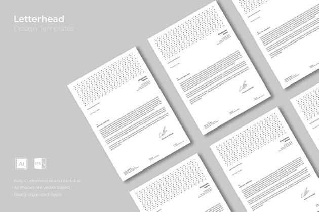 geometric letterhead stationery template